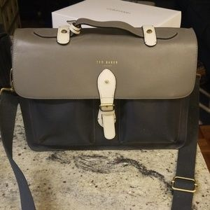 Ted Baker color blocked briefcase